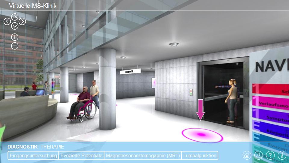 Internet-Applikation | Virtuelle MS-Klinik, Foyer